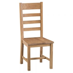 Oakley Rustic Ladder Back Chair with Wooden Seat