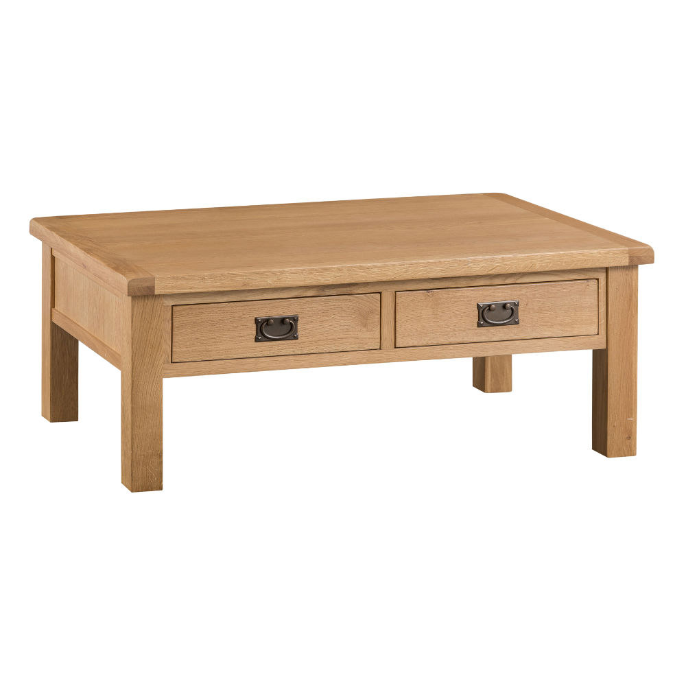 Oakley Rustic Large Coffee Table with Drawer