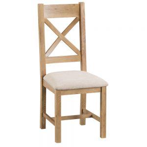 Oakley Rustic Cross Back Chair Fabric Seat