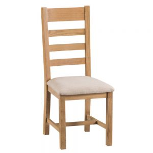 Oakley Rustic Ladder Back Chair Fabric Seat