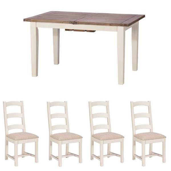 Pennines 140cm Table and 4 Upholstered Chairs