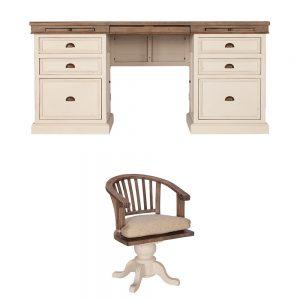 Pennines Large Desk and Rotating Desk Chair Set