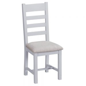 Henley Grey Ladder Back Chair Fabric Seat