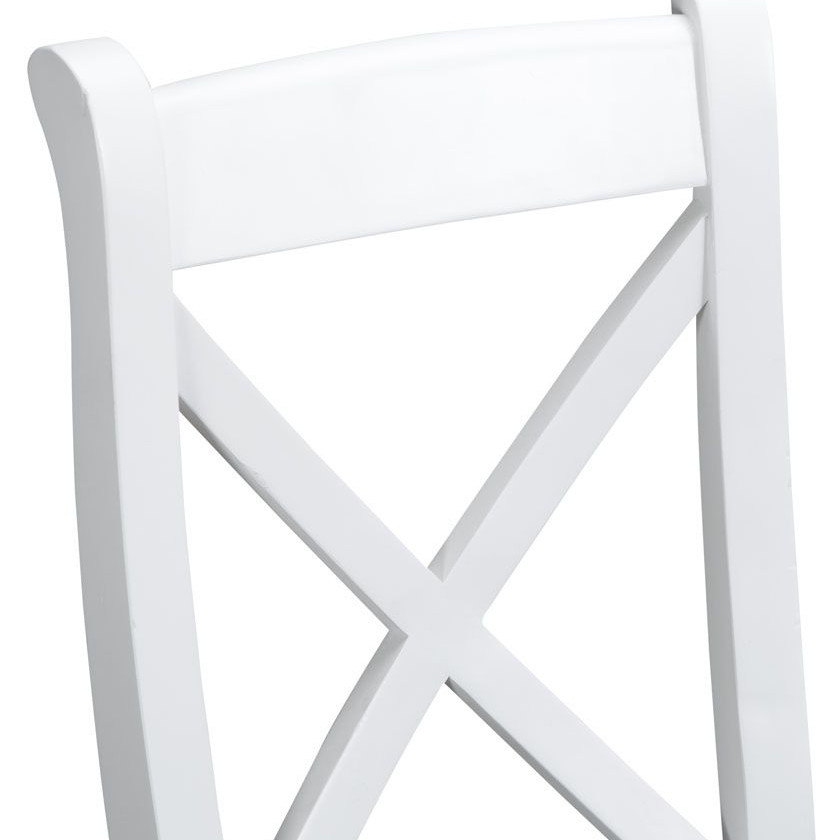 Henley White Cross Back Chair Fabric Seat