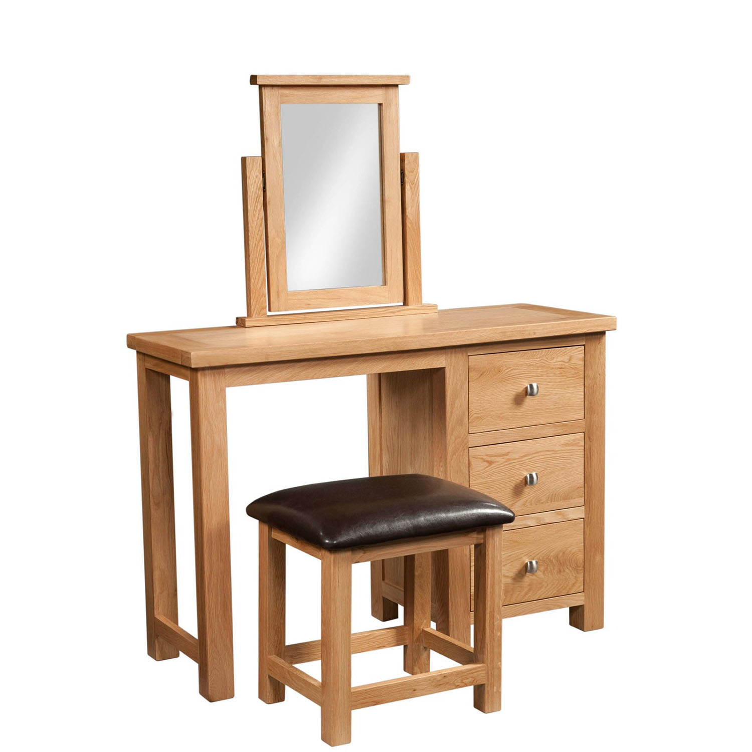 Maiden Oak Single Pedestal Dressing Table and Stool
