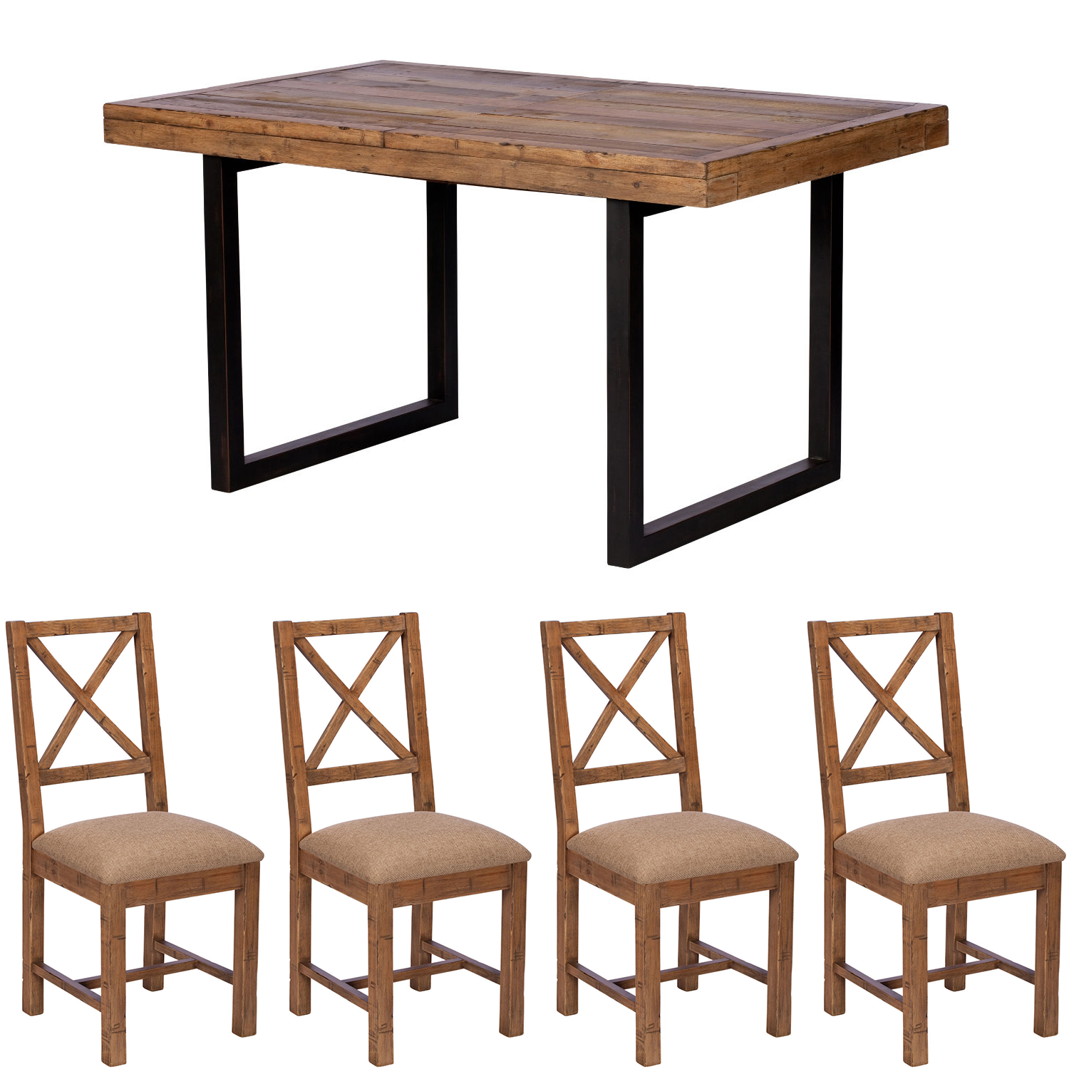 Lincoln 140cm Table & x4 Upholstered Chairs Dining Set