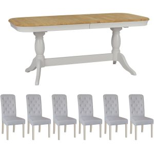Stag Cromwell Twin Pedestal Dining Table & 6 Button Back Chairs
