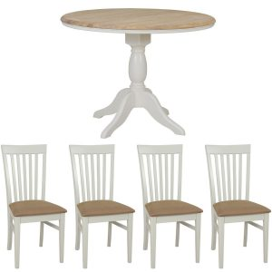 Stag Cromwell Round Fixed Top Table & 4 Elizabeth Chairs