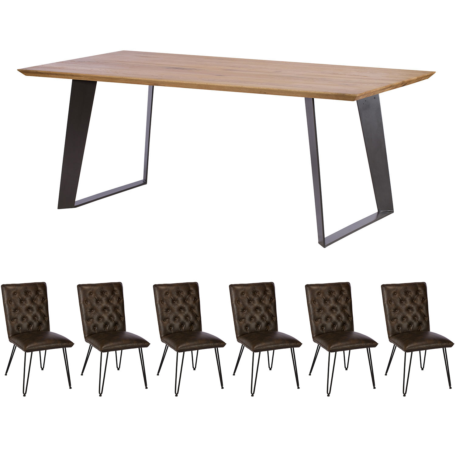 Camden Light 180cm Table and x6 Lewis Chairs Dining Set
