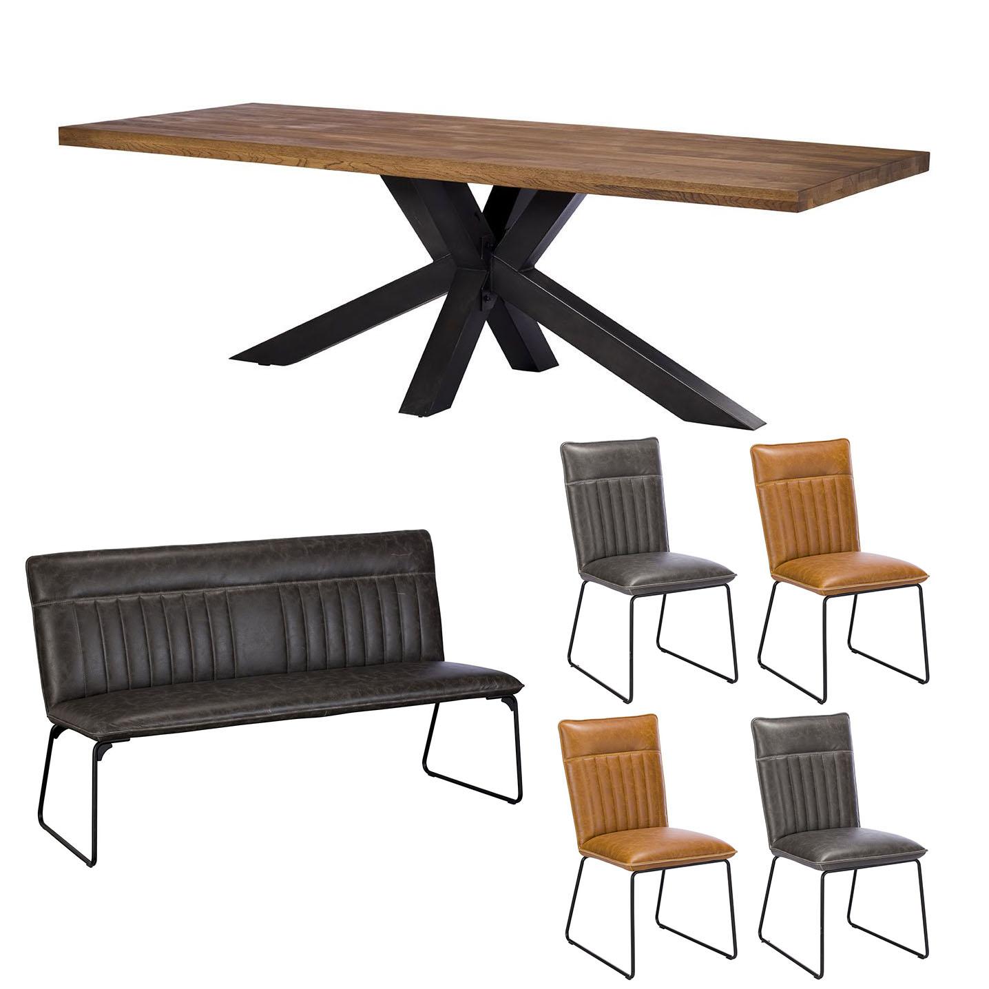Camden 200cm Star Base Table with Cooper Bench Grey x2 Cooper Grey x2 Cooper Tan