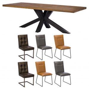 Camden 200cm Star Base Table with x2 Cooper Grey x2 Cooper Tan x2 Rupert Brown