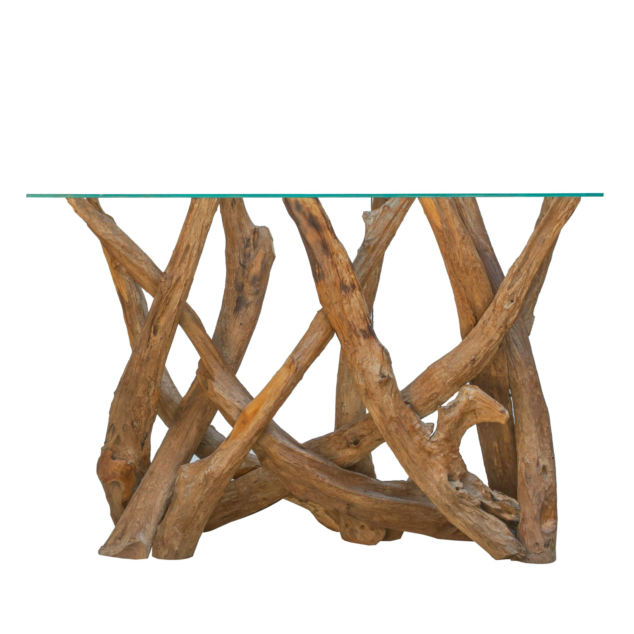 Ashdown  Natural Teak Root Console Table with Glass