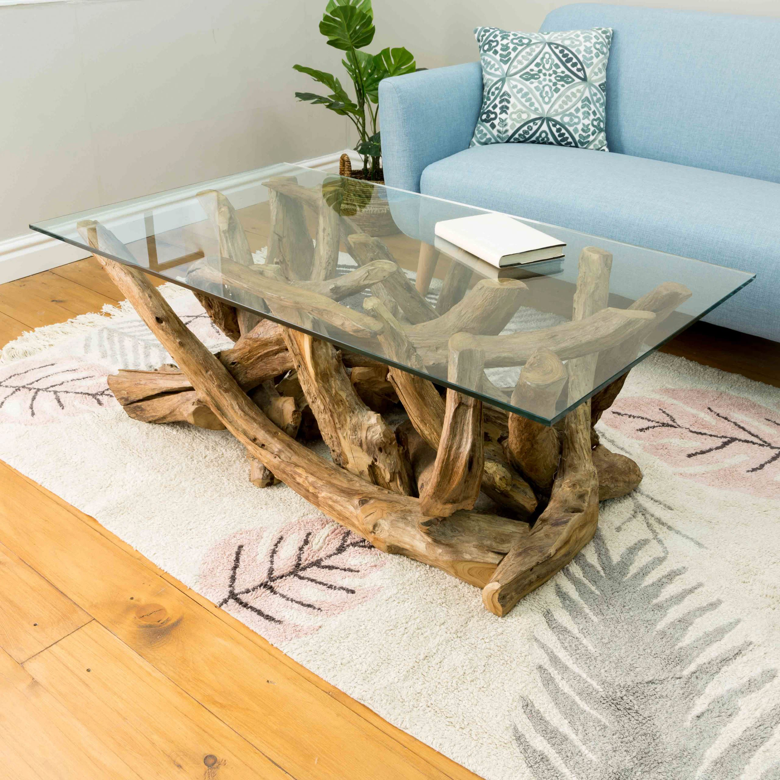 Ashdown Natural Teak Root Rectangular Coffee Table with Glass