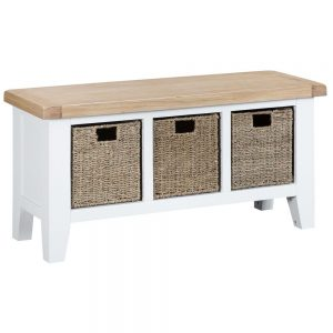 Henley White Large Hall Bench