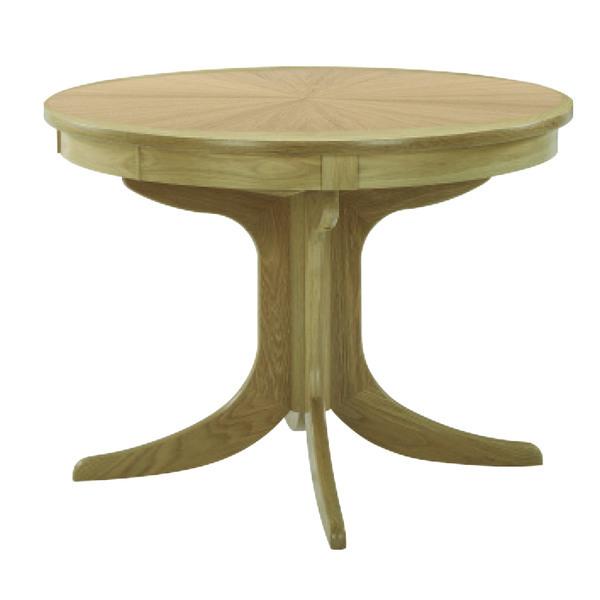 Nathan Shades Oak Circular Pedestal Dining Table with Sunburst Top 2165