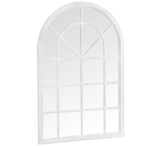 Small Arched Window Mirror White