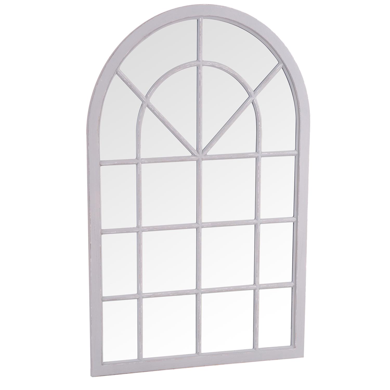 Small Arched Window Mirror Grey