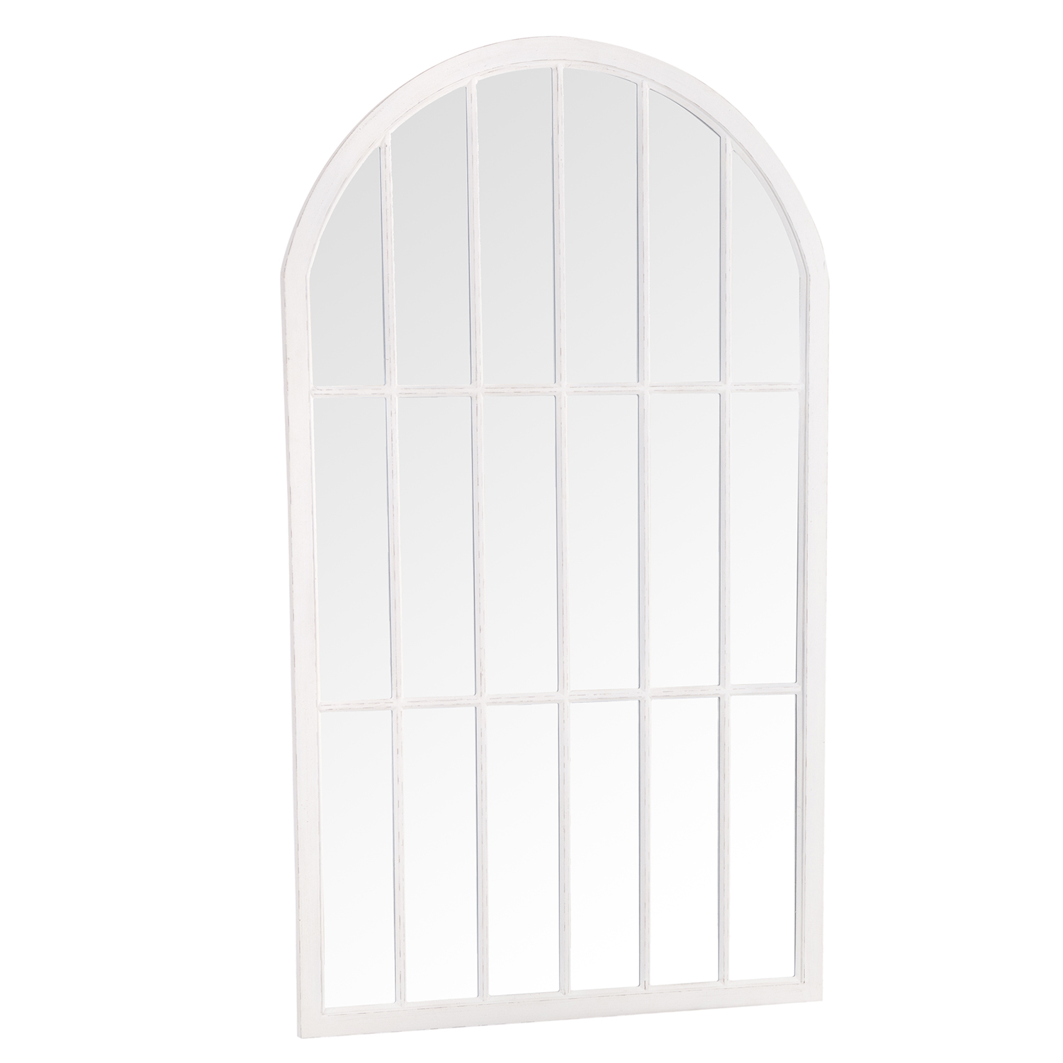 Large Arched Window Mirror White