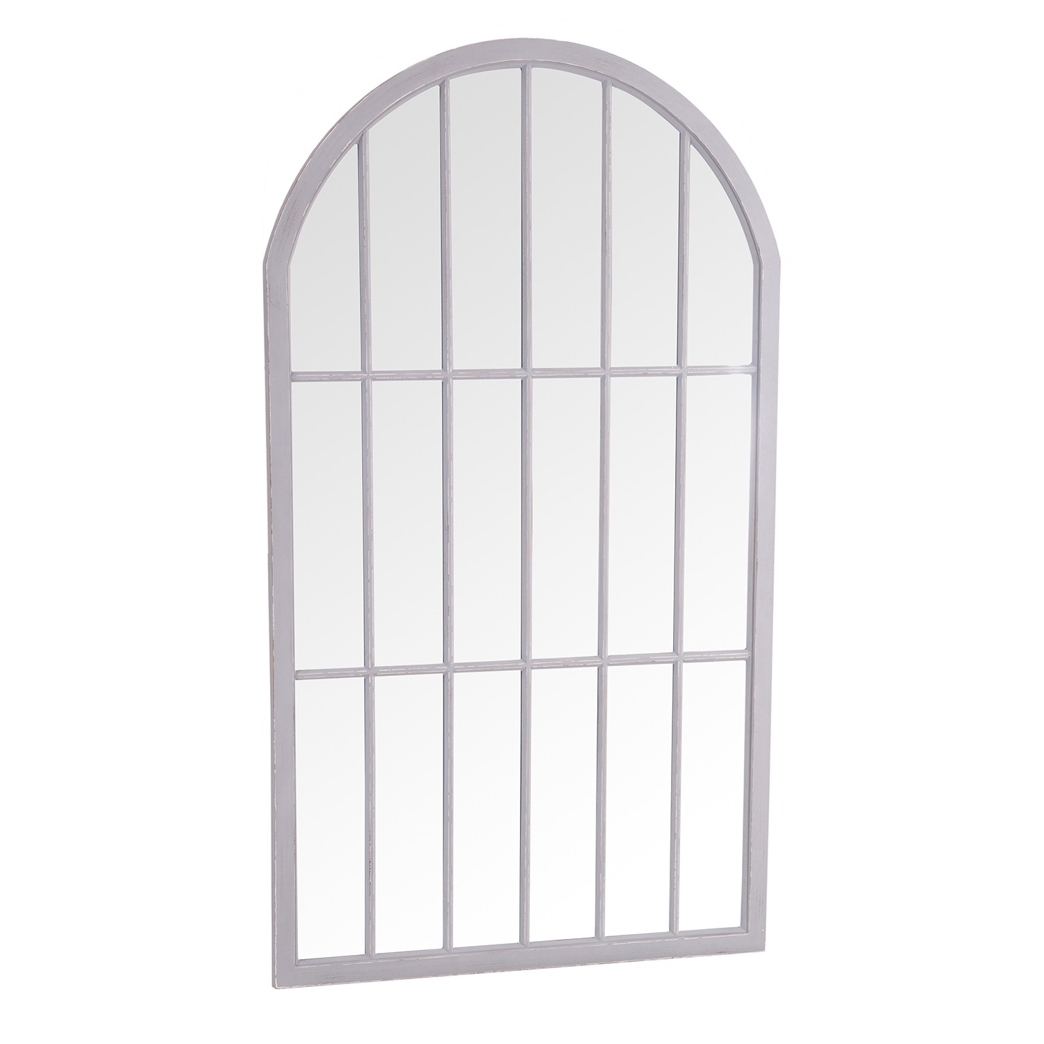 Large Arched Window Mirror Grey