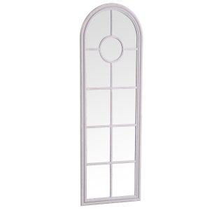 Narrow Arched Window Mirror Grey