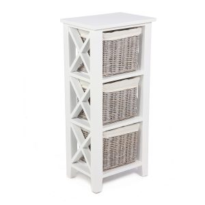 Stamford White Cabinet with 3 Baskets