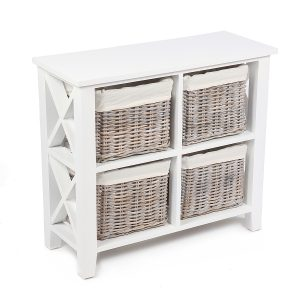 Stamford White Cabinet with 4 Baskets
