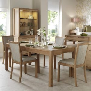 Malmo Dining Table and 4 Upholstered Back Chair Set