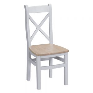 Henley Grey Cross Back Chair Wooden Seat