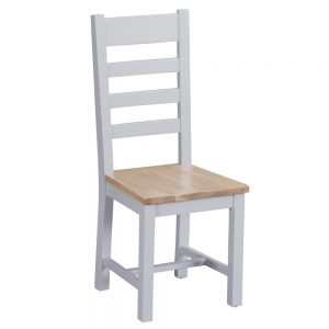 Henley Grey Ladder Back Chair Wooden Seat
