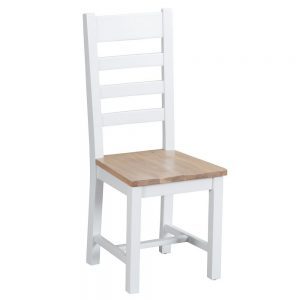 Henley White Ladder Back Chair Wooden Seat