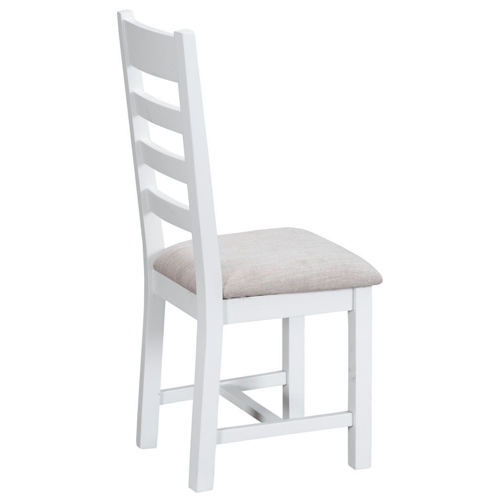 Henley White Ladder Back Chair Fabric Seat
