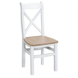 Henley White Cross Back Chair Wooden Seat