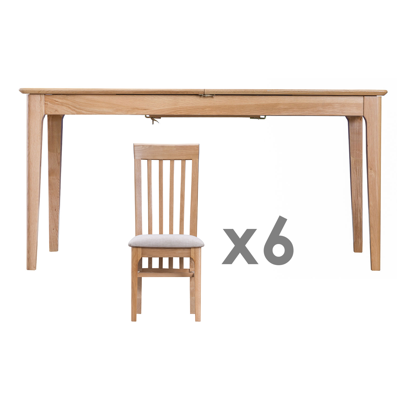 Woodley 1.6-2.1m Butterfly Table & 6 Slat Back Fabric Chairs Set
