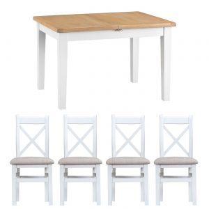 Henley White 120-165cm Table with x4 Cross Back Chairs