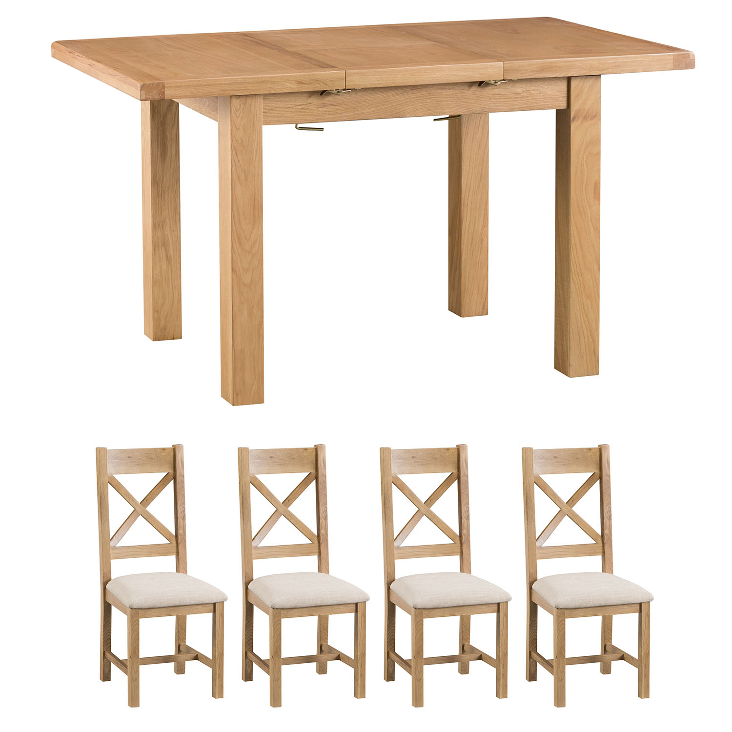 Oakley Rustic 100-140cm Butterfly Table and x4 Cross Back Chairs Set