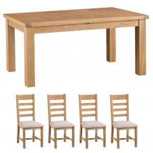 Oakley Rustic 170-220cm Butterfly Table and x4 Ladder Back Chair Set