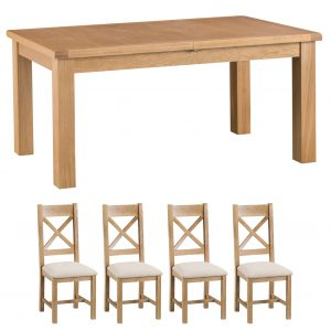 Oakley Rustic 170-220cm Butterfly Table and x4 Cross Back Chairs Set