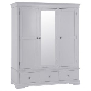 Croft Grey 3 Door 3 Drawer Wardrobe