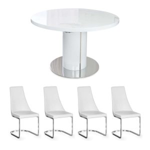 Varna White Round Dining Table and x4 Sofia Chairs in White