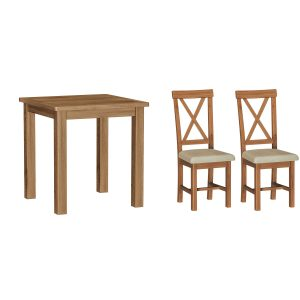 Chiltern Oak Fixed Top Table and x2 Chairs Set