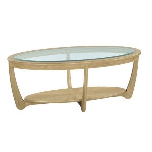 Nathan Shades Oak Glass Top Oval Coffee Table - 5835