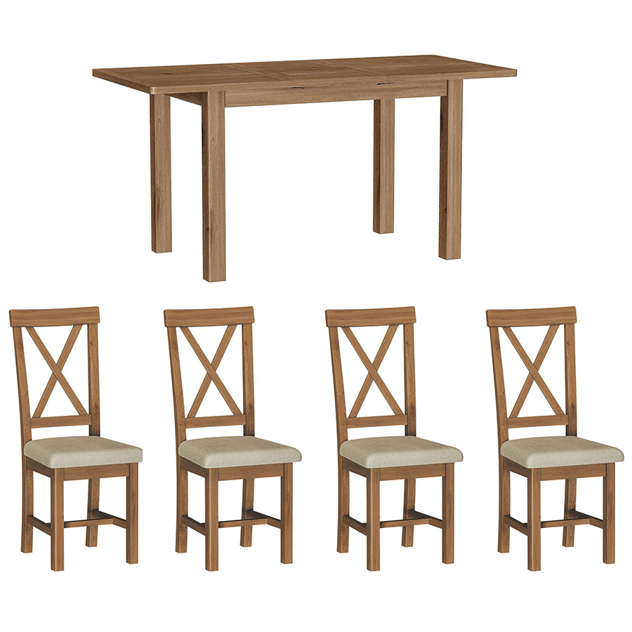 Chiltern Oak 1.2m Table and x4 Chairs Dining Set