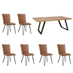 Scala 1.8 Fixed Top Table & 6 Studded Back Tan Chairs