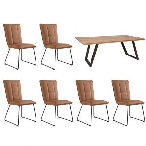Scala 1.8 Fixed Top Table & x6 Panel Back Tan Chairs
