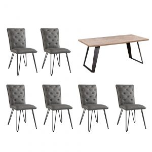 Riva 1.8m Table and Studded Back Chairs in Grey