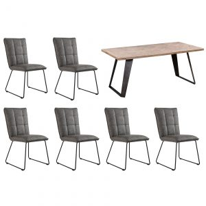 Riva 1.8m Table and x6 Panel Back Chairs in Grey