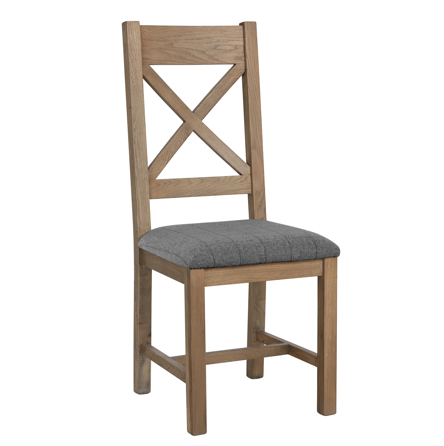 Heritage Oak Cross Back Dining Chair - Grey Check