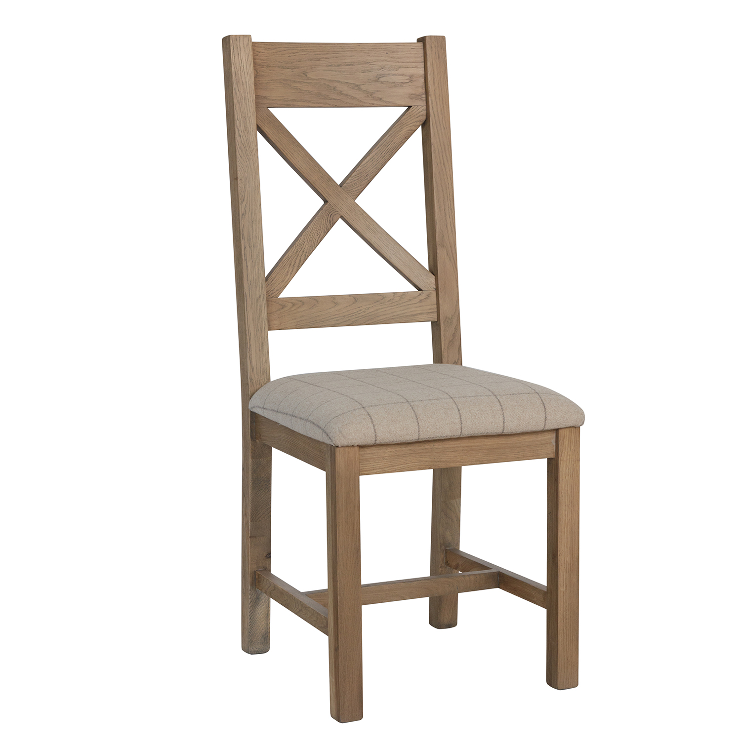 Heritage Oak Cross Back Dining Chair - Natural Check