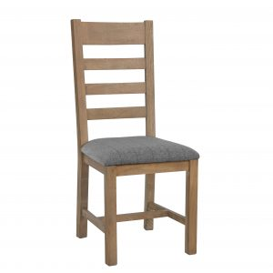 Heritage Oak Slat Back Dining Chair - Grey Check