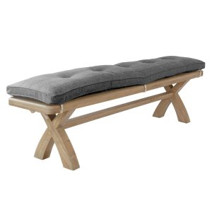 Heritage Oak Bench - Grey Check Cushion Only